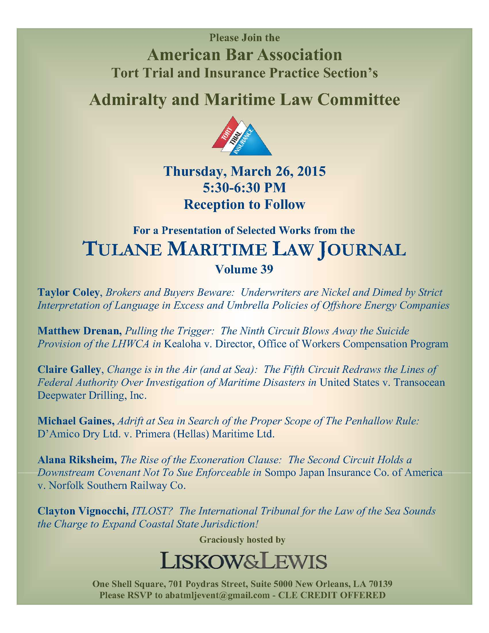 Tulane Maritime Law Journal Event Flyer